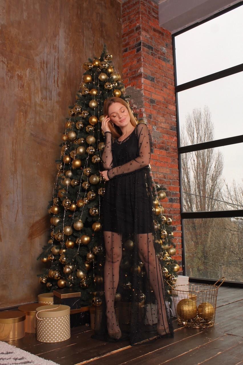 Платье черное из трикотажа с сеткой макси сверху 63py517