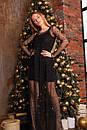 Платье черное из трикотажа с сеткой макси сверху 63py517, фото 2