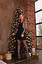 Платье черное из трикотажа с сеткой макси сверху 63py517, фото 3