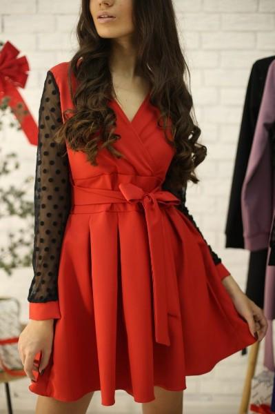 Платье с расклешенной юбкой и рукавом из сетки в горошек 52py534