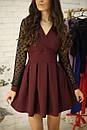 Платье с расклешенной юбкой и рукавом из сетки в горошек 52py534, фото 3