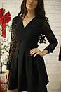 Платье с расклешенной юбкой и рукавом из сетки в горошек 52py534, фото 5