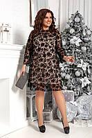 Женское стильное платье с флоком на сетке батал