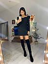 Приталенное платье с фигурным вырезом и длинным рукавом фонариком 76py552, фото 2
