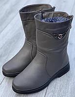 Ботинки женские зимние 8 пар в ящике серого цвета 37-42