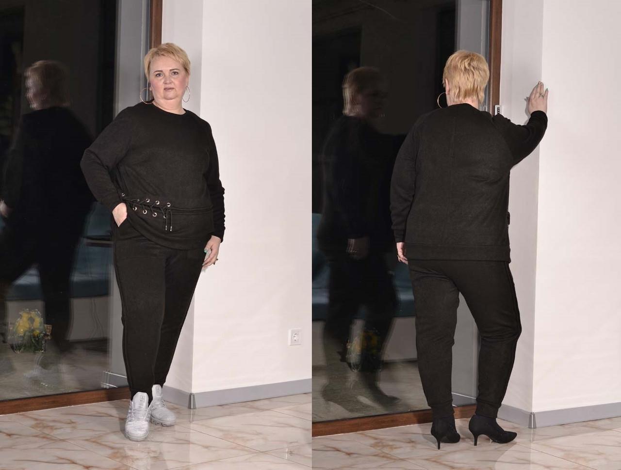 Ангоровый женский брючный костюм в больших размерах с зауженными штанами 10uk451