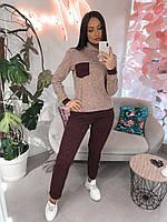 Женский тёплый костюм из ангоры софт, укорочённые брюки, кофта гольф с накладным карманом (50-54)