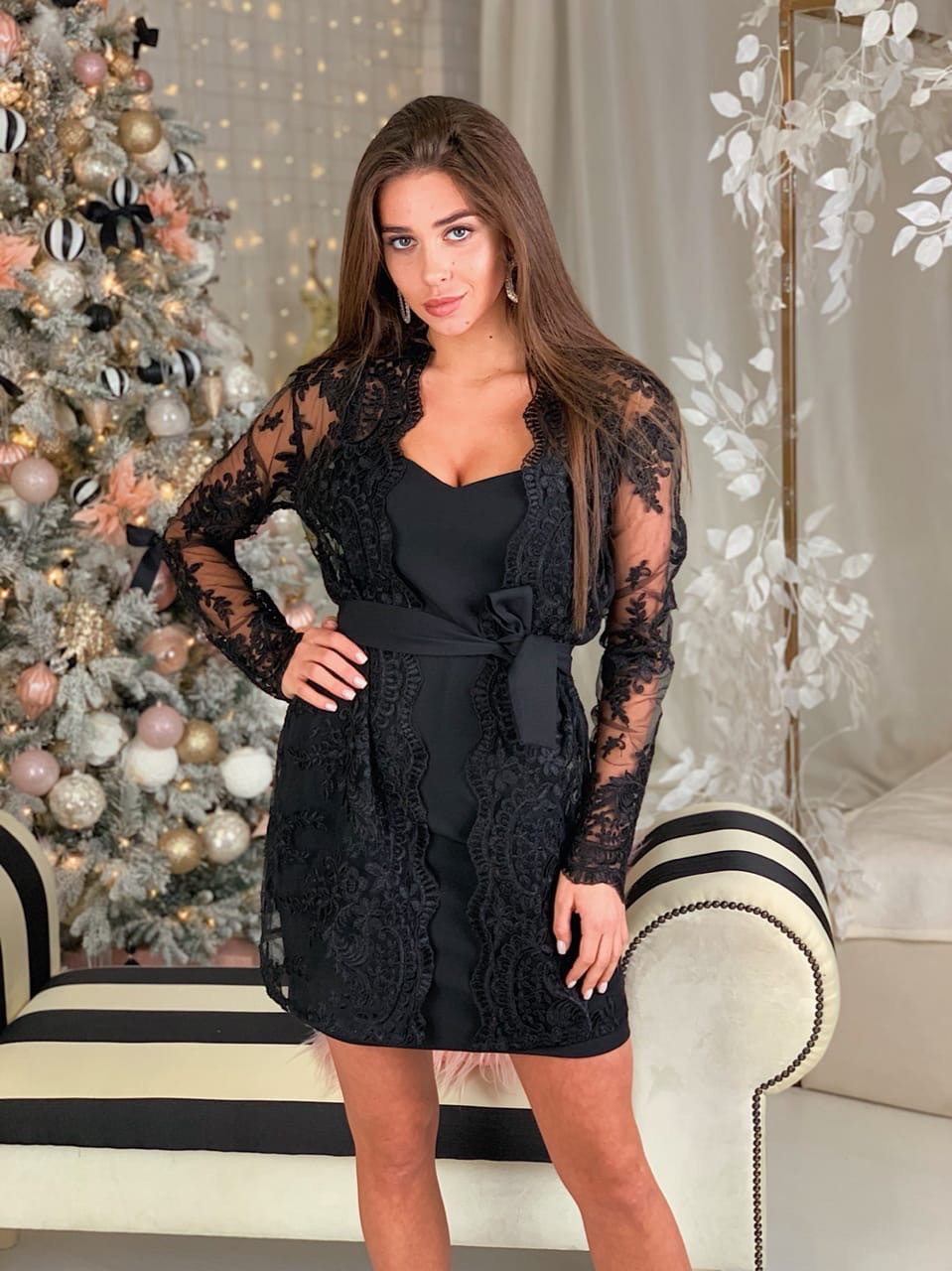 Женский костюм платье и кружевной кардиган 16ks372