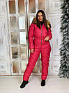 Женский зимний комбинезон с капюшоном и меховой опушкой 41gk39, фото 3