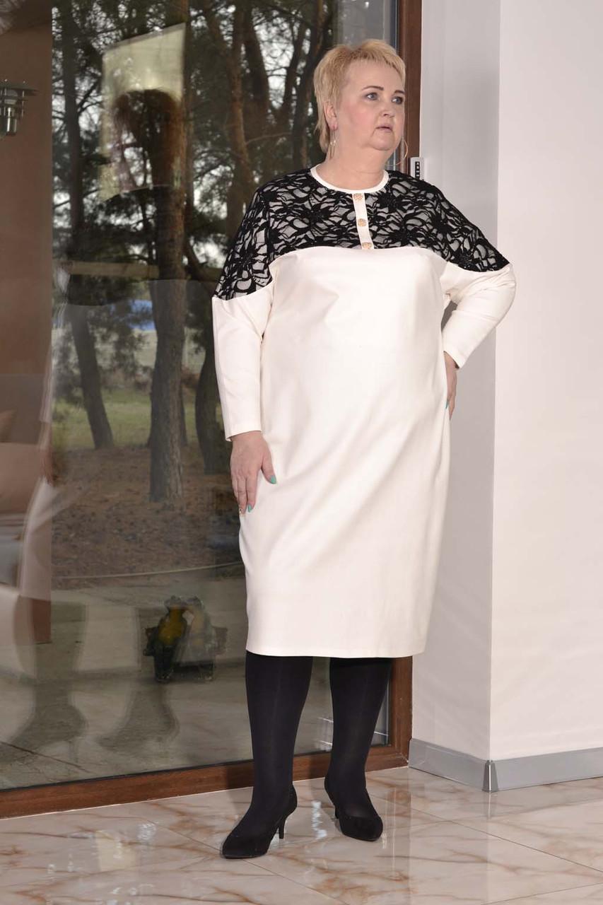 Платье миди в больших размерах из трикотажа плотного с вставками гипюра 10ba447