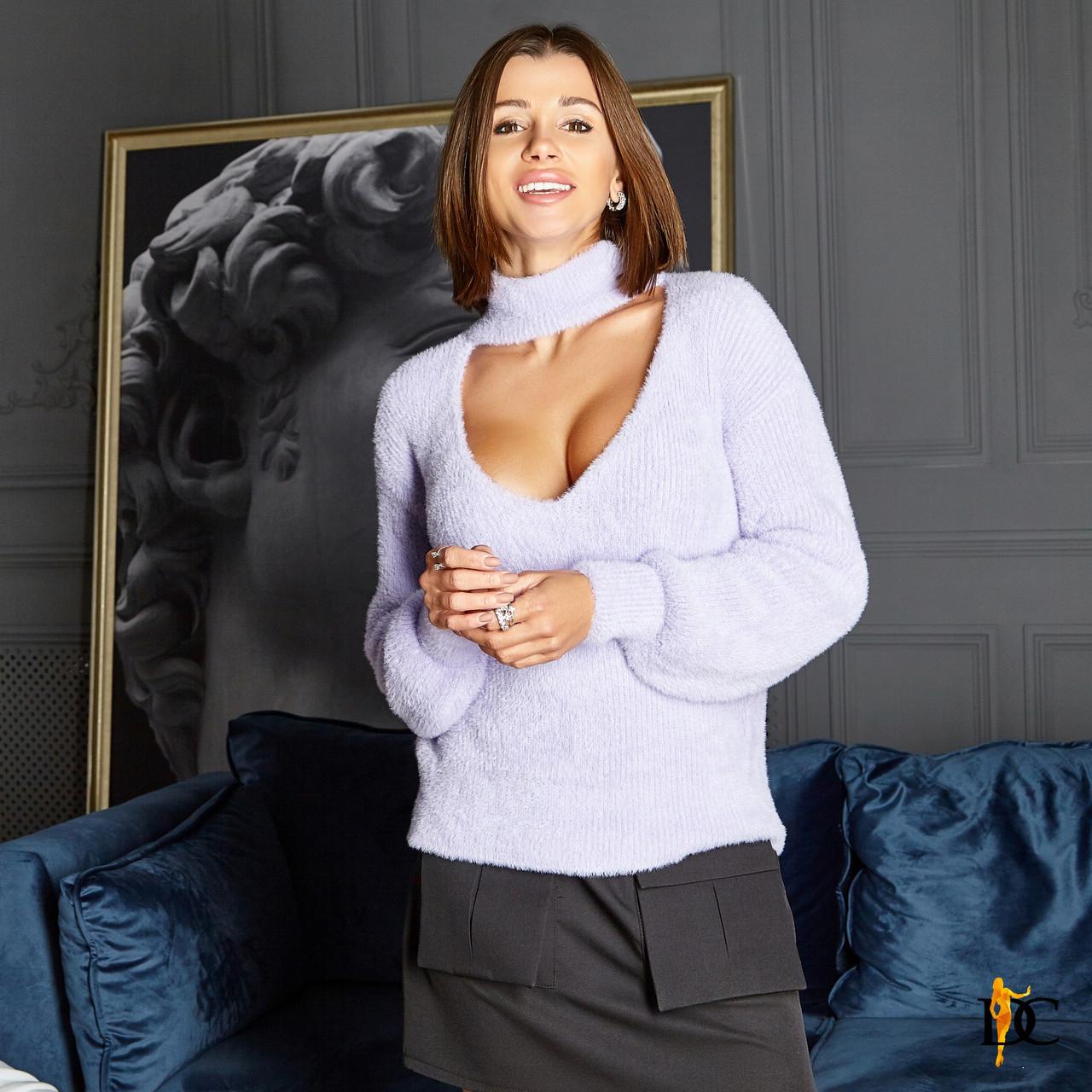 Женская кофта с имитацией чокера и вырезом декольте 31ddet774