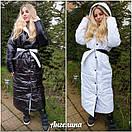 Длинное зимнее Пальто двухстороннее с капюшоном и на кнопках 37kur212, фото 3