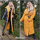 Длинное зимнее Пальто двухстороннее с капюшоном и на кнопках 37kur212, фото 4