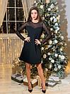 Черное платье - трапеция с рукавами из сетки 65plt500, фото 2