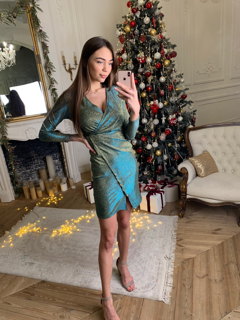 Платье из трикотажа с блестящим напылением и имитацией запаха 73plt504
