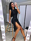 Платье из пайетки хамелеон на подкладе с разрезом на ноге 20plt510, фото 2