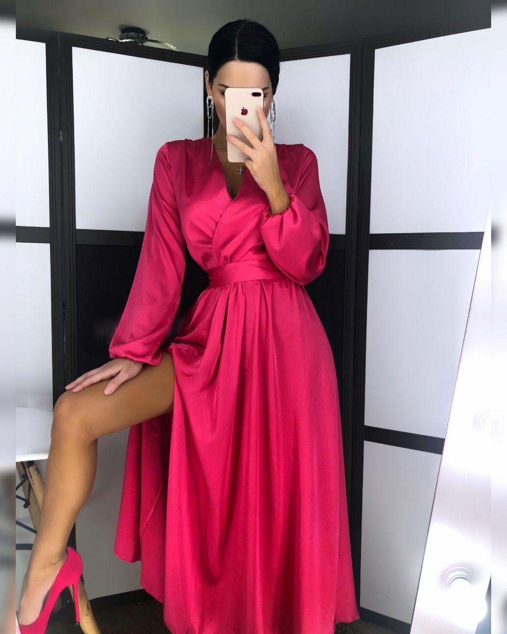 Шелковое платье макси с верхом на запах и длинным рукавом фонариком 20plt511