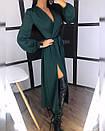 Шелковое платье макси с верхом на запах и длинным рукавом фонариком 20plt511, фото 3