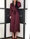 Шелковое платье макси с верхом на запах и длинным рукавом фонариком 20plt511, фото 4