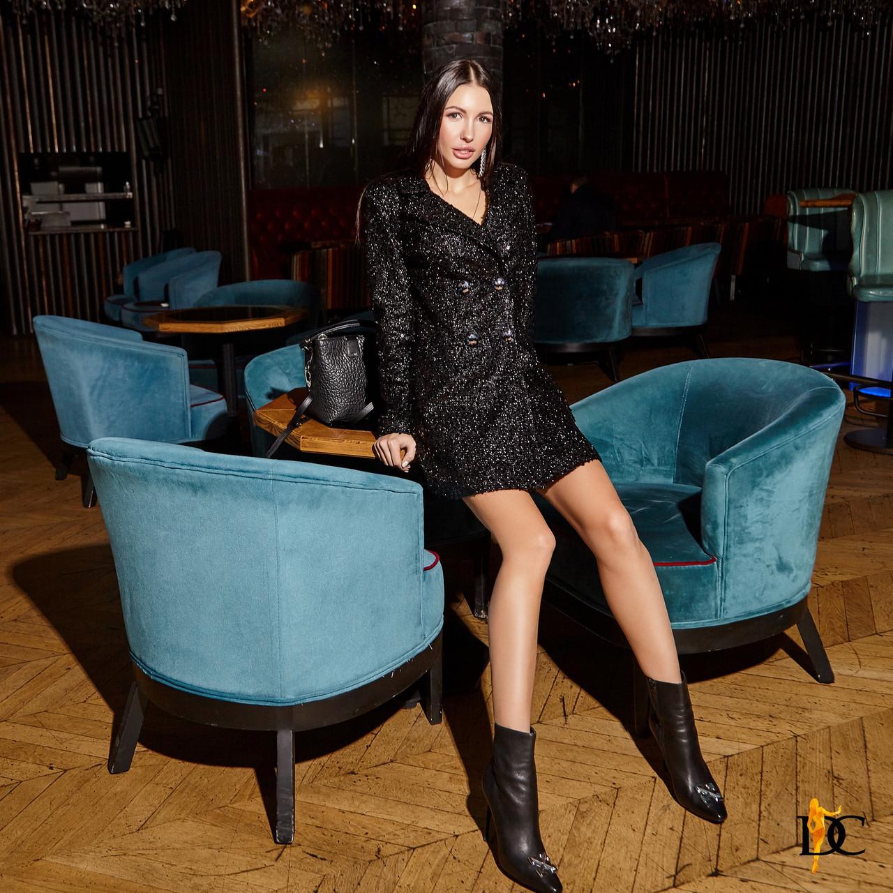 Буклированное платье - пиджак черное с длинным рукавом 31plt514