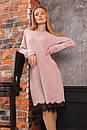 Свободное трикотажное платье с отделкой из кружева и длинным рукавом 63plt516, фото 4