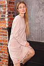 Свободное трикотажное платье с отделкой из кружева и длинным рукавом 63plt516, фото 5