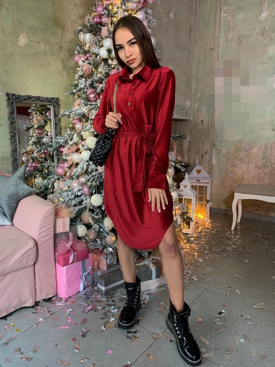 Вельветовое платье рубашка с асимметричной юбкой и длинным рукавом 63plt518