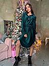 Вельветовое платье рубашка с асимметричной юбкой и длинным рукавом 63plt518, фото 2