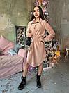 Вельветовое платье рубашка с асимметричной юбкой и длинным рукавом 63plt518, фото 3