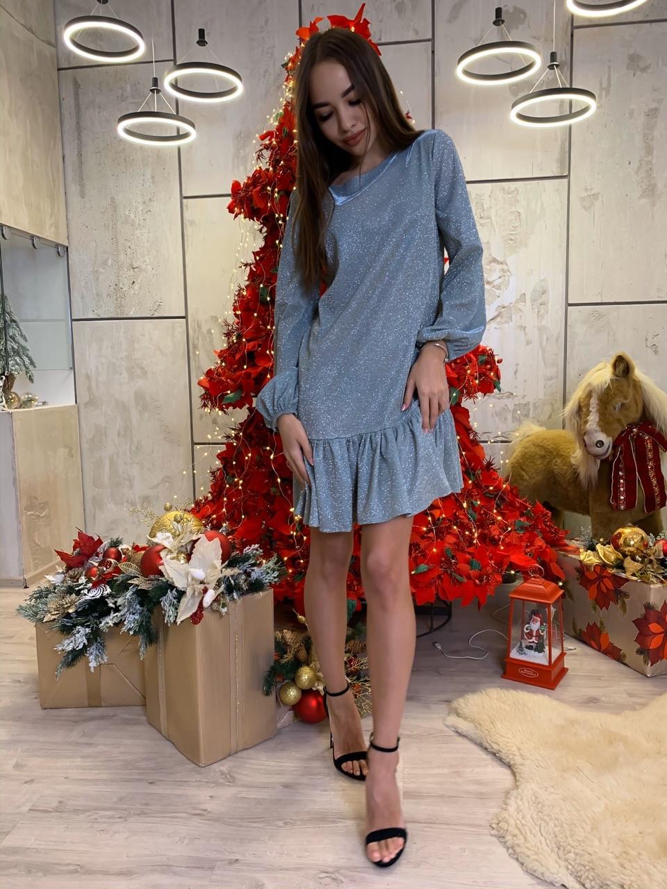 Платье свободное из люрекса с оборками и длинным рукавом 63plt520