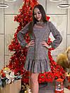 Платье свободное из люрекса с оборками и длинным рукавом 63plt520, фото 2