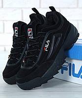 Зимние мужские кроссовки Fila Disruptor 2(II) Black (Фила Дисраптор 2) с мехом