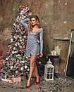 Блестящее платье с люрексом на запах с длинным рукавом 60plt524, фото 2