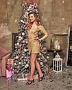 Блестящее платье с люрексом на запах с длинным рукавом 60plt524, фото 4