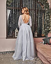 Платье макси с пышной фатиновой юбкой и кружевным верхом с открытой спиной 60plt525, фото 4