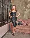 Кожаный черный сарафан с разрезом на ноге 60plt526, фото 2