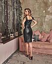 Кожаный черный сарафан с разрезом на ноге 60plt526, фото 3