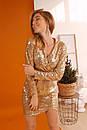 Платье в пайетку с верхом на запах и длинным рукавом 60plt528, фото 2