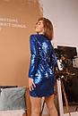 Платье в пайетку с верхом на запах и длинным рукавом 60plt528, фото 5