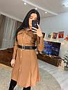 Женское кожаное платье рубашка с длинным рукавом 16plt530, фото 3
