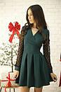 Платье с расклешенной юбкой и рукавом из сетки в горошек 52plt534, фото 4