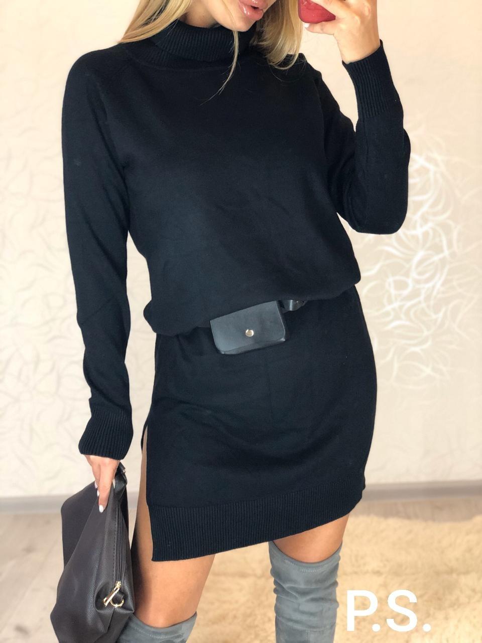 Платье свободное с кашемиром и высоким воротником 76plt540