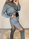 Платье свободное с кашемиром и высоким воротником 76plt540, фото 3