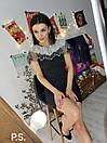 Обтягивающее черное платье с декором из камней и жемчуга на плечах 76plt542, фото 3