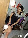 Обтягивающее черное платье с декором из камней и жемчуга на плечах 76plt542, фото 4