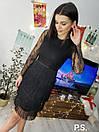 Черное платье с юбкой из бахрамы и гипюровыми рукавами 76plt543, фото 2