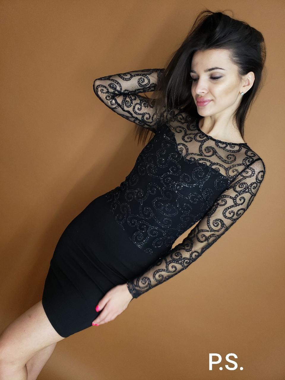 Облегающее платье с кружевным верхом и длинным рукавом 76plt546