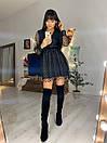 Черное платье с расклешенной юбкой и сеткой флок сверху 76plt551, фото 2