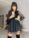 Черное платье с расклешенной юбкой и сеткой флок сверху 76plt551, фото 3
