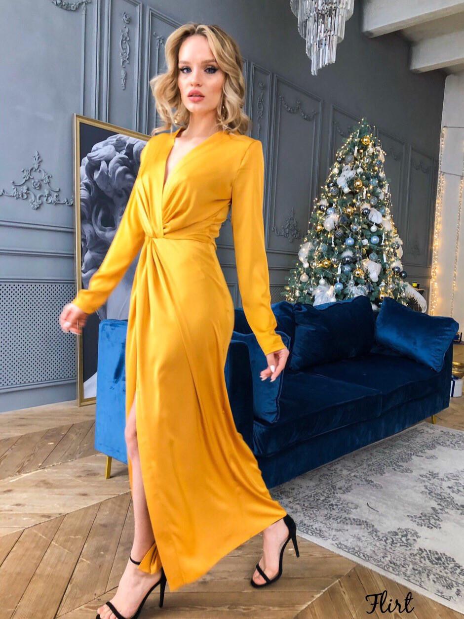 Длинное шелковое платье с перекрутом на талии и длинным рукавом 36plt551